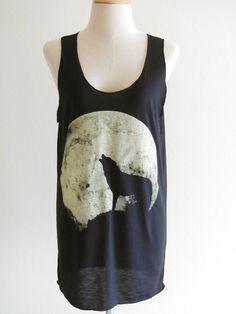 Howling Wolf Fox -- animal art design animal t-shirt black t-shirt women t-shirt tank top tunic fox wolf  t-shirt size s, m. $17.00, via Etsy.