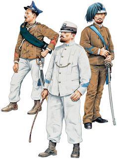 ITALIAN OFFICERS,1895-96 1:Sergeant-major,Fanteria d'Africa,marching order.2:Infantry Captain,Truppe d'Africa,service dress.3:Lieutenant,Bersaglieri,marching order.