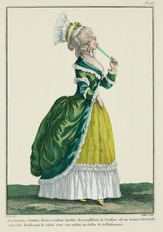 Galerie des Modes, Cahier, Figure Circassienne with bands of another color, edged with muslin. The coiffure is a cap à la Créche belted with a double row of ribbon with a bow on top of the Phisionomie. 18th Century Dress, 18th Century Costume, 18th Century Fashion, Costume Français, Old Models, Fashion Colours, Fashion Images, Historical Clothing, Fashion History