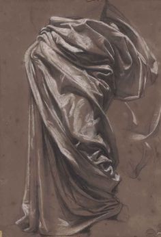 Jean-Auguste-Dominique Ingres (French, 1789-1867), Etude de draperie. Black chalk, white chalk and stumping on brown paper, 38.2 x 27.3 cm.