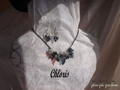Black and grey flower bib necklace with by GibsonGirlsGoneWired $49.55