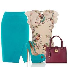 A fashion look from May 2014 featuring Oasis blouses, Karen Millen skirts and Salvatore Ferragamo tote bags. Browse and shop related looks. Office Fashion, Work Fashion, Fashion Looks, Fashion Beauty, Business Outfits, Business Fashion, Classy Outfits, Chic Outfits, Elegantes Outfit
