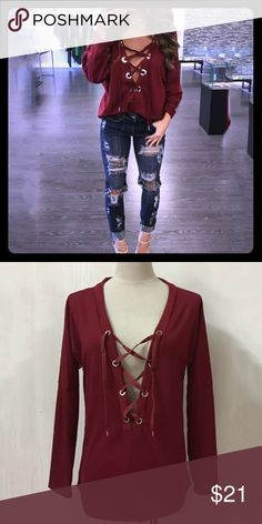 🎉🎉HP🎉🎉 NWT Maroon Lace-Up Top 😍😍 Sassy little casual maroon lace up top! Show as much or little cleavage as you want (or dare)! Wear with jeans and heels or flats for a cute casual look! Or pair with cute fitted joggers for an even more laid back look! Cute, casual, and comfy! Tops