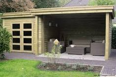 Afbeeldingsresultaat voor tuinhuis overkapping Shed Roof, House Roof, Shed Plans, House Plans, Gazebo, Tool Sheds, Building A Shed, Garden Seating, Outdoor Living