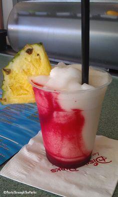 Pina Colava! 2 parts pineapple juice, 1 part creme de coconut, 1 part Bacardi Razz raspberry rum. And raspberry puree