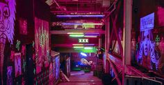 Liked on Pinterest: tumblr street Grunge dark colors neon glow neon lights dark blog neon blog glow