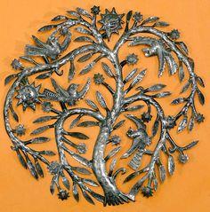 Tree Of Life Art | garden tree metal folk art wall hanging this circular tree of life ...
