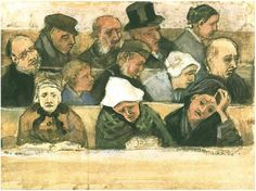 Vincent van Gogh: Church Pew with Worshippers. Watercolor | Watercolour, pen, pencil.The Hague: September - late in month, 1882. Kröller-Müller Museum: Otterlo, The Netherlands