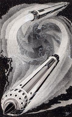 Frank R. Paul (1884–1963) - Rockets and Men, interior story illustration