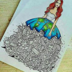 Amazing art drawings messages Ideas for 2019 Earth Drawings, Cool Art Drawings, Pencil Art Drawings, Art Drawings Sketches, Disney Drawings, Sketch Art, Drawing Ideas, Fashion Design Drawings, Environmental Art