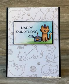 the Lawn Fawn blog: Cat Birthday Card by Kylie (using Meow You Doin'?)