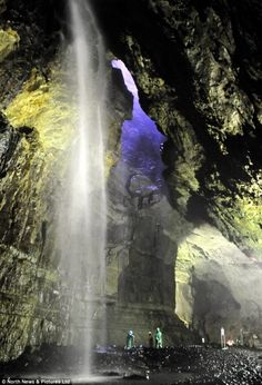 Gaping Gill Cave, Yorkshire Britain's tallest waterfall, twice the height of Niagara, plunges on to the cave floor