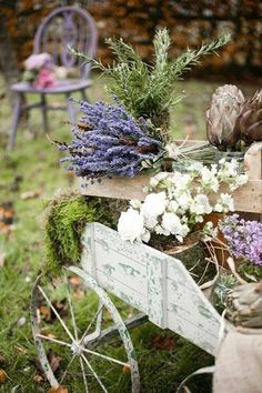 Wooden Wagon with Lavender & Moss