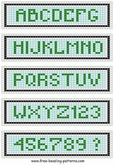 Darling Make Alphabet Friendship Bracelets Ideas. Wonderful Make Alphabet Friendship Bracelets Ideas. Embroidery Alphabet, Learn Embroidery, Cross Stitch Alphabet, Embroidery Patterns, Loom Bracelet Patterns, Bead Loom Bracelets, Bead Loom Patterns, Embroidery Bracelets, Beading Patterns Free