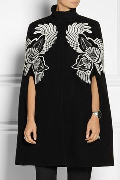 Stella McCartney | Floral-embroidered wool cape |