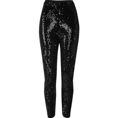 River Island Black sequin high rise leggings ($70) ❤ liked on Polyvore featuring pants, leggings, pant, trousers, highwaist pants, high-waisted pants, high rise pants, high waisted pants and legging pants