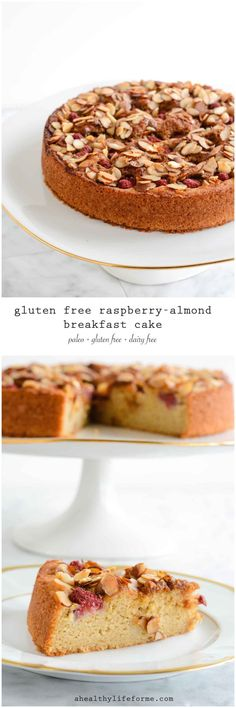 Gluten Free Raspberry Almond Breakfast Cake - A Healthy Life.- Gluten Free Raspberry Almond Breakfast Cake – A Healthy Life For Me Gluten Free Raspberry Almond Cake is Paleo Dairy Free Delicious Recipe Gluten Free Sweets, Gluten Free Cakes, Gluten Free Cooking, Dairy Free Recipes, Gluten Free Almond Cake, Raspberry And Almond Cake, Desserts Sains, Breakfast Desayunos, Raspberry Breakfast