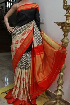 MULTI COLOR POCHAMPALLY IKAT SILK SAREE