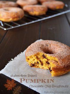 Gluten Free Baked Pumpkin Chocolate Chip Doughnuts from Faithfully Gluten Free