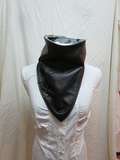 Bandana- upcycled leather biker scarf, leather riding scarf, motorcycle bandana, leather ridding bandana