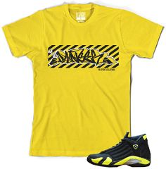 Jordan Retro 14 Thunder Shoes EFFECTUS CLOTHING Yellow Shirt