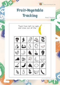 "In the ""Fruit-Vegetable Tracking"" worksheets, the student must find all of the ladies that look the same as the example at the top of the page.  Available at www.visuallearningforlife.com on the Visual Tracking Skills Builder CD."