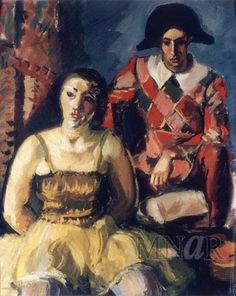 ballerinas and harlequins (e.g. Harlequin and Dancer, 1929; Bucharest, N. Mus. A.)