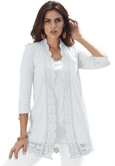 Roamans Women's Plus Size Crochet Trim Cardigan - Listing price: $60.25 Now: $35.25