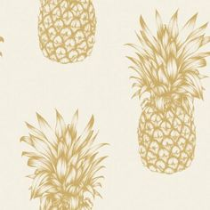 Tropics Copacabana Pineapple Wallpaper - Gold - Arthouse 690901