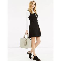 Buy Oasis Pinafore Tab Detail Dress, Black Online at johnlewis.com