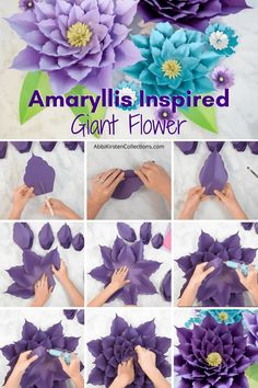 Large Paper Flowers, Tissue Paper Flowers, Giant Flowers, Diy Flowers, Fabric Flowers, Paper Flower Tutorial, Flower Template, Diy Wreath, Flower Crafts