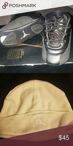 Jordan 12 Black white Black Metallic gold 12 Retro Jordan gift pack with  beanie Jordan Shoes f2dbe3d10e4