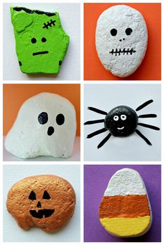 Halloween rock painting. Collect rocks on nature walks and decorate them! Could be used for any holiday/season.