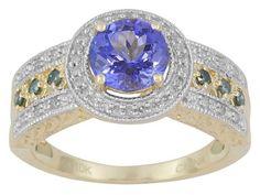 1.15ct Round Tanzanite With .19ctw Round Blue And White Diamond 10k Yellow Gold Ring