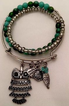 LexiLee  Owl Expandable Bangle Set W/semiprecious Stone Beaded Wrap Bracelet  | eBay