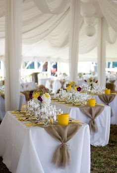 Cheerful Country Wedding Decor Ideas ★ country wedding reception under white tent with gold accents janas corner Chic Wedding, Rustic Wedding, Wedding Burlap, Trendy Wedding, Burlap Weddings, Wedding Pins, Decor Wedding, Wedding Ideas With Burlap, Wedding Ideas With Sunflowers