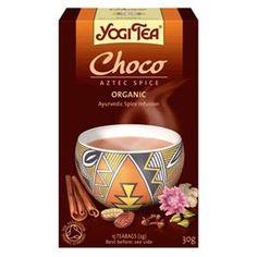 Yogi Te Chokolade - kakaobønneskaller, kanel, lakridsrod, karob, bygmalt, kardemomme, ingefær, nellike, Vanilje ekstrakt, sort peber