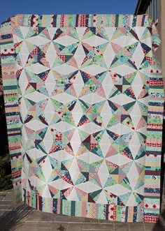 Love this Kaleidoscope quilt.  Made with DS Quilts fabric available at Joann's fabric.