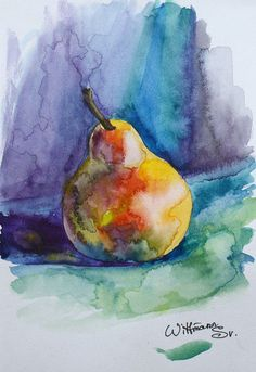 ApPEARantly its Time to revel or nest a cozy night-in crafting & creating at with our January selections including the sketchbook by & Aquarel from & brushes from 🎨 By Svetlana Wittman Watercolor Fruit, Fruit Painting, Easy Watercolor, Watercolor Artwork, Watercolor Sketch, Watercolor Flowers, Sketch Art, Watercolor Paper, Vegetable Painting