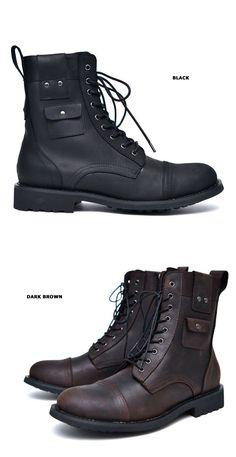 Shoes :: Cargo Pocket Vintage Biker Boots-Shoes 532 - GUYLOOK Men's Trendy…