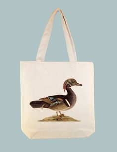 Vintage Summer Duck Illustration on Canvas Tote  by Whimsybags, $12.00