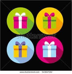 Present box, gift icon, vector illustration. Flat design style