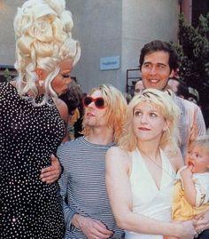RuPaul, Kurt Cobain, Courtney Love Cobain, Krist Novoselic, and Frances Bean Cobain