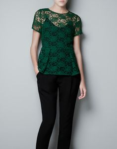 LACE AND PEPLUM TOP - Shirts - Woman - ZARA United States