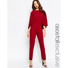ASOS TALL Cape Sleeve Jumpsuit ($86) ❤ liked on Polyvore featuring jumpsuits, oxblood, white jump suit, asos jumpsuit, tall jumpsuits, jump suit and asos