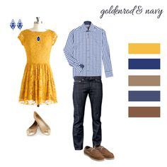Photo Shoot Outfits Goldenrod and navy. Fun pop of yellow for an engagement session. This could also be fun for spring/ summer family & kids portraits. Family Picture Outfits, Couple Outfits, Engagement Photo Outfits, Engagement Session, Engagement Photography, Engagement Photos, Fall Engagement, Engagements, Summer Family Pictures