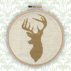 Stag Silhouette Cross Stitch Pattern on Etsy, $5.07