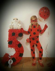Disfraz casero y completo con accesorios Ladybug y Piñata también casera número 5 Ladybug