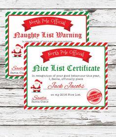 Santa Nice List Certificate Christmas by HOOTinvitations on Etsy