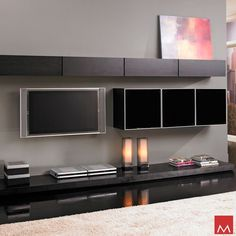 Modloft Grand Wall Unit - The Grand wall unit creates the perfect backdrop for your modern, eurostyle living room. Modern Wall Units, Modern Tv, Modern Living, Modern Decor, Modern Contemporary, Modern Furniture Online, Contemporary Furniture, Entertainment Wall Units, Modern Fireplace